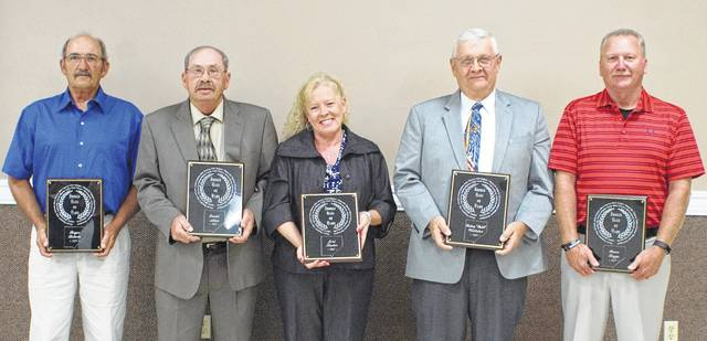 The 2017 Class of the Clinton County Sports Hall of Fame was inducted Thursday night at the Expo Center on the Clinton County Fairgrounds. Those honored were, from left to right, Roger Roberts, David Allen, Joni Streber, Butch Whitaker and Bruce Boggs.