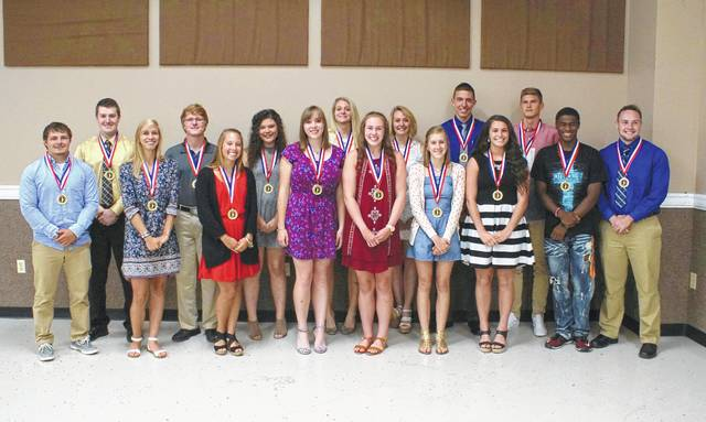 Wilmington High School graduate Alison Dooley and East Clinton graduate Thomas Wright were named the 2017 Wilmington News Journal Clinton County Scholar-Athlete award winners Thursday night during a program at the Expo Center on the Clinton County Fairgrounds. The nominees present for the award Thursday were, from left to right, were, from left to right, Hunter Collier, Jared Monhollen, Emma Gundler, Thomas Wright, Angela Miller, Hunter Toller, Jocelyn Burton, Veronica Ilg, Gracie Storm, Sydney Ilg, Alison Dooley, Cole Isaacs, Savannah Morgan, Chris Demler, Nicademus Hayward and Gage Smith. Nominees Aric France and Anthony Osburn were not present for the ceremony. Also, the five newest members of the Clinton County Sports Hall of Fame were officially inducted. For more on both honors, see SPORTS, Page 12.