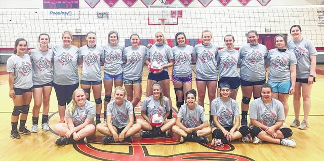 The Maryville College Volleyball Camp was held at East Clinton High School June 12-14. In the photo, from left to right, front row, Logan Peterman, Paige Lilly, Gracie Evanshine, Marci Ellis, Gracie Boggs, Lauren Hadley; back row, Alexis Rolfe, Katrina Bowman, Maryville coach Kandis Schram, Kenzie Campbell, Kaitlin Durbin, Kayla Hall, Victoria Jamison, Kaitlyn Talbott, Myah Jones, Melina Noble, Rhylee Luttrell, Jade Penn, Maryville coach Kristin Henderson.
