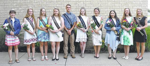 The 2017 Clinton County Fair is just around the corner. It begins two weeks from today — July 8-15. The Species Court, pictured with the fair king and queen, are, from left: Canine Queen Savannah Henderson; FCS Queen Allie Houseman; Horse Queen Kari Cragwall; Poultry Queen Chloe Caplinger; King Andrew Houseman; Queen Bridgette Thompson; Jr. Fair Princess Olivia Wood; Jr. Fair Princess Felicity Richardson; Beef Queen Anne Thompson; and Goat Queen Katie Hughes.