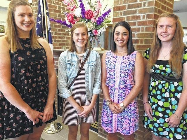 From left are Jessica Haynie, Alison Dooley, Allison Brooks and Bailey Hudson, 2017 PEO scholarship recipients.