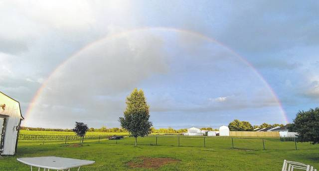 This complete rainbow made a complete arc, or arch, over the Sabina area Monday night.