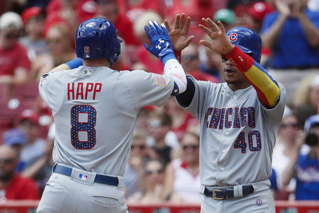 Chicago Cubs' Ian Happ (8) celebrates with Willson Contreras (40) after hitting a two-run home run off Cincinnati Reds starting pitcher Tim Adleman in the second inning of a baseball game, Sunday, July 2, 2017, in Cincinnati. (AP Photo/John Minchillo)