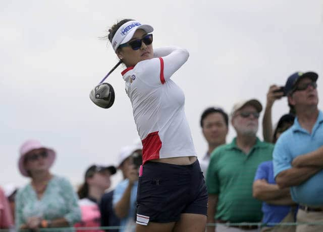So Yeon Ryu of South Korea tees off the 10th hole during a practice round before the U.S. Women's Open Golf Championship at Trump National Golf Club in Bedminster, N.J., Wednesday, July 12, 2017. (AP Photo/Seth Wenig)