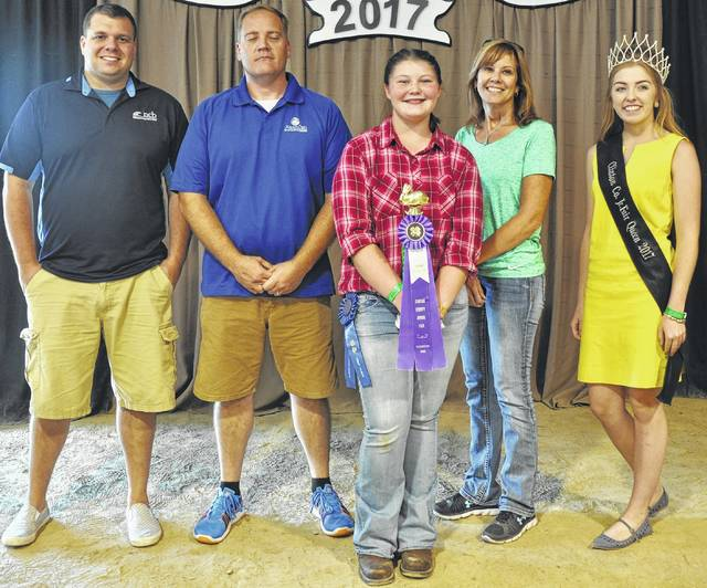 "Addison ""Addi"" Beckett's grand champion single fryer market rabbit brought $550 at the Clinton County Junior Fair Livestock Sales. The buyers are American Showa, Best One Tire Service, Bush Auto Place, CBD Trucking LLC, LCNB National Bank, LGSTX Services Inc., Lowes, NCB Bank, Peoples Bank, R+L Carriers / Roberts Convention Centre, State Rep. Cliff Rosenberger, World Equestrian Center, G Bar J Ranch, Clinton County Auditor Terry Habermehl, and Jake Henry Farms."