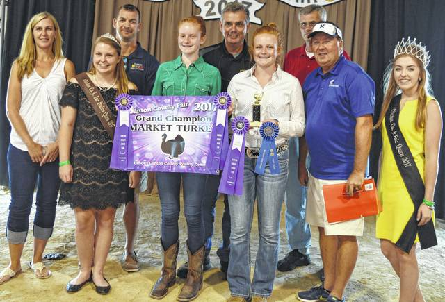 Jozie Jones' grand champion turkey brought $425 at the Clinton County Junior Fair Livestock Sales. The buyers are Bronson Door Company, Bush Auto Place, CM Farms LLC / QM Straw LLC, Cherrybend Pheasant Farm / Ellis Farms, Clinton Animal Care Center, First State Bank, Groves Tire & Service, Johnson Farms, Panetta Excavating Inc., Peoples Bank, R+L Carriers / Roberts Convention Center, Sunrise Cooperative, and American Equipment Service.