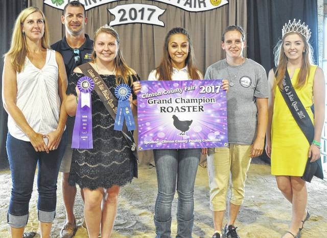 Mileigh Marshall's grand champion poultry roaster drew an auction bid total of $975 at the Clinton County Junior Fair Livestock Sales. The buyers are ABX Air, Bush Auto Place, Clinton Animal Care Center, Get Fit Wilmington, Johnson Farms, Kal-Jen Farm, Lynch Family, R+L Carriers / Roberts Convention Centre, State Rep. Cliff Rosenberger, World Equestrian Center, Superior Flooring, and Richard Federle Law Offices.