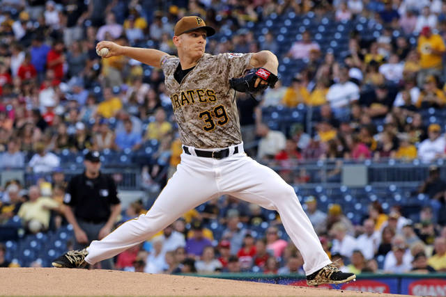Pittsburgh Pirates starting pitcher Chad Kuhl delivers during the first inning of the team's baseball game against the Cincinnati Reds in Pittsburgh, Thursday, Aug. 3, 2017. (AP Photo/Gene J. Puskar)