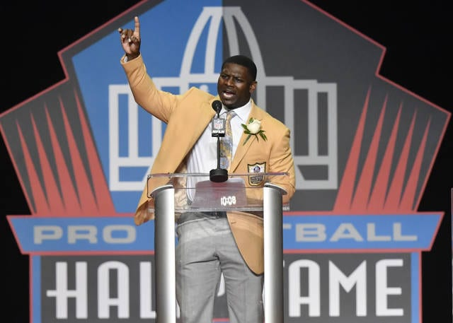 LaDainian Tomlinson delivers his speech at the Pro Football Hall of Fame inductions Saturday, Aug. 5, 2017, in Canton, Ohio. (AP Photo/David Richard)