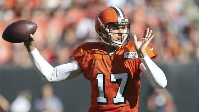 Cleveland Browns quarterback Brock Osweiler throws during the first half  the NFL football team's Orange and Browns Scrimmage on Friday, Aug. 4, 2017, in Cleveland. (Joshua Gunter/Cleveland.com via AP)