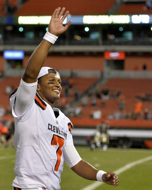 Cleveland Browns quarterback DeShone Kizer waves to fans after the Browns defeated the New Orleans Saints 20-14 during an NFL preseason football game, Thursday, Aug. 10, 2017, in Cleveland. (AP Photo/David Richard)