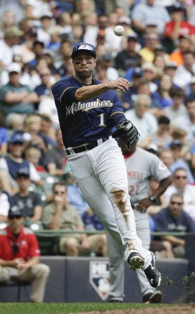 Milwaukee Brewers' Neil Walker makes a play on a ball hit by Cincinnati Reds' Scooter Gennett during the second inning of a baseball game Sunday, Aug. 13, 2017, in Milwaukee. (AP Photo/Morry Gash)