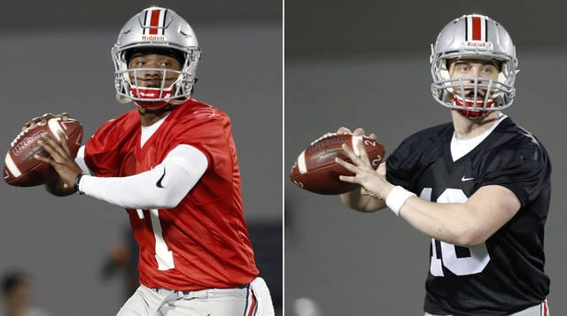 FILE - These are March 7, 2017, file photos showing Ohio State quarterbacks Dwayne Haskins, left, and Joe Burrow, right, during an NCAA college football practice in Columbus, Ohio. The backup quarterback derby at Ohio State continues furiously without a decision on whether Burrow or Haskins would be the next man up. The starting job is firmly held by J.T. Barrett, of course, but Burrow, Haskins and true freshman Tate Martell have battled throughout preseason camp for No. 2 _ and perhaps more importantly, position themselves to start next year when Barrett is gone. Coach Urban Meyer on Monday, Aug. 14, 2017, wouldn't say who has the edge. (AP Photo/Jay LaPrete, File)