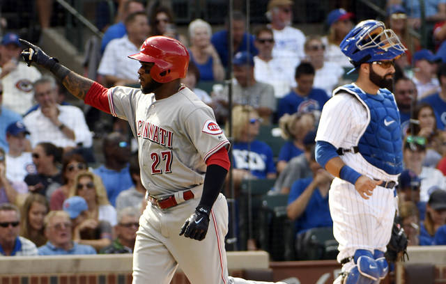Cincinnati Reds' Phillip Ervin (27) reacts after crossing home plate after hitting a two-run home run against the Chicago Cubs during the seventh inning of a baseball game, Thursday, Aug. 17, 2017, in Chicago. (AP Photo/David Banks)