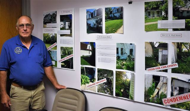 Wilmington Mayor John Stanforth with posters displaying properties that the city said was in violation of the Wilmington's codified ordinance or condemned.