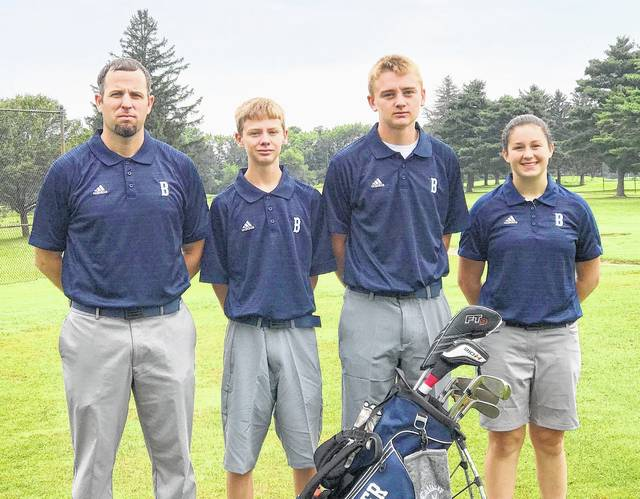 The Blanchester High School golf team, from left to right, head coach Aaron Lawson, Brian Miller, Jacob Miller, Ashlin Benne. Team member Connor Cook was not present for the team photo.