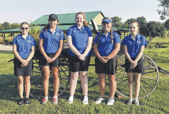 The Clinton-Massie High School girls golf team, from left to right, Abby Schneider, Taylor Kropp, Mackynzi Vonderhaar, Gabby Woods, Taylor Anderson. Team member Pearl Spurlock was not present for the photo.