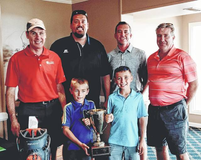 The winning team in the seventh Chad Fallis Memorial Golf Tournament, from left to right, back row, Jeff Florence, Justin Beckett, Matt Richardson and Mark Schnizer, along with, front row, Cole and Jace Fallis.