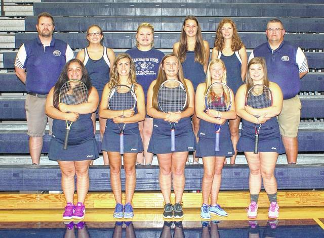The Blanchester High School girls tennis team, from left to right, front row, Alexis Vestal, Erin Wilson, Korie White, Grace King, Lilly Tedrick; back row, assistant coach Mike Sexton, Kayla Allen, Taylor Bradley, Terra Wichterman, Lydia Falgner, head coach Matt Sexton.