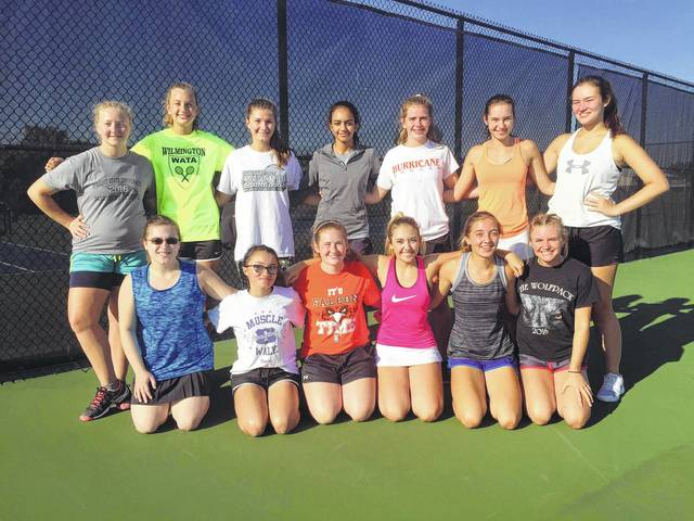The Wilmington High School girls tennis team, from left to right, front row, Kathryn Yurek, Gracie Conger, Annie Osborn, Sydney Johnston, Brooklyn Nielsen, Sophie Blessing; back row, Kristina Walt, Josie Nichols, Allie Kees, Zane Bekheet, Rachel Barker, Sophie Reed, Emma Schroeder. Team member Holli Anderson was not present for the photo.