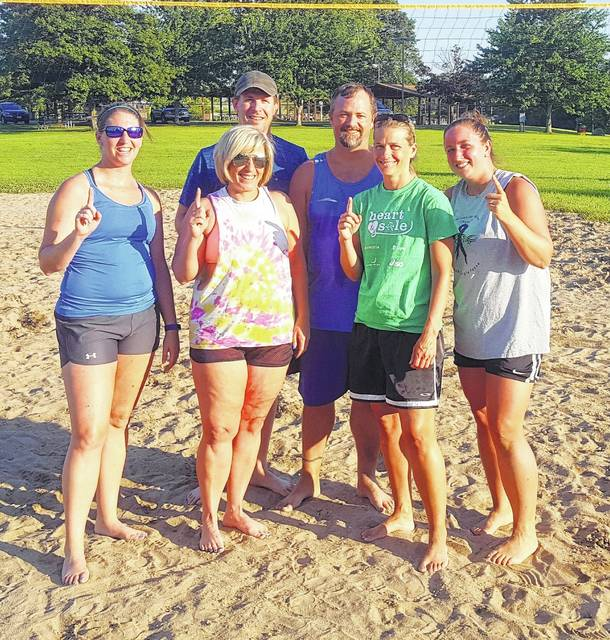 The Matrka Renovation team went 12-0 and won the Wilmington City Recreation Department Monday Night League sand volleyball championship. Team members are, from left to right, front row, Ashlee Rector, Sara Peters, Jill Wilson and Angel Caplinger; back row, Eric Peters and Jim Greene.