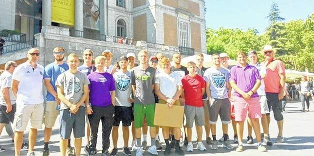 The Wilmington College men's soccer team outside the Prada Museum in Madrid Thursday.