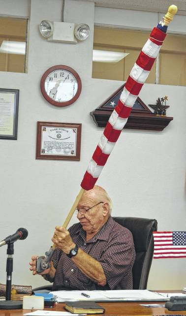 """""""We now have 15 flag kits in-house, and sufficient funds to buy 10 more as needed,"""" says Sabina Mayor Dean Hawk. Funds were donated during the past month."""