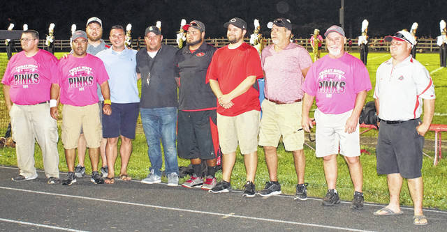 The 2002 East Clinton High School football team was recognized Friday night at halftime of the varsity football game with Wilmington. The Astros finished the season at 9-2. They qualified for the OHSAA Div. V playoffs and lost to Morral Ridgedale in the opening round. Team members and coaches present for the ceremony were, from left to right, Steve Olds, Bryan Floyd, Seth Howard, Neil Arehart, Chris Wisecup, Lester Robinson, Shawn Patterson, coach Bruce Davis, coach Jeff Vanscoy and Brian Pinkerton.