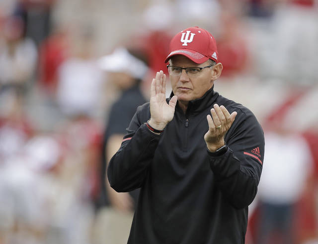 FILE - In this Aug. 31, 2017, file photo, Indiana coach Tom Allen watches as Indiana prepares for an NCAA college football game against Ohio State in Bloomington, Ind. While Penn State, Ohio State, Wisconsin and Michigan State head into the last Saturday of October harboring College Football Playoff hopes, several Big Ten teams that got off to promising starts now are just trying to make a bowl. Indiana had a quality road win over Virginia and was 3-2 before a couple of close losses to Michigan and Michigan State. (AP Photo/Darron Cummings, File)