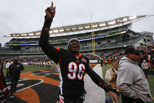 Cincinnati Bengals defensive end Carlos Dunlap celebrates after an NFL football game against the Indianapolis Colts, Sunday, Oct. 29, 2017, in Cincinnati. (AP Photo/Frank Victores)