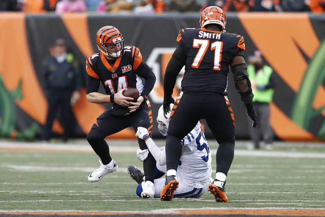 Cincinnati Bengals quarterback Andy Dalton (14) is sacked by Indianapolis Colts linebacker Tarell Basham (58) in the second half of an NFL football game, Sunday, Oct. 29, 2017, in Cincinnati. (AP Photo/Gary Landers)
