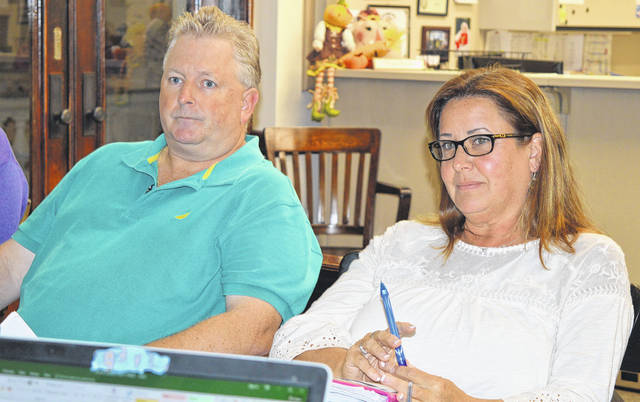 Clinton County Treasurer Jason Walt, left, and treasurer's office staffer Andrea Regan meet Monday with commissioners to talk about the department's proposed 2018 budget.