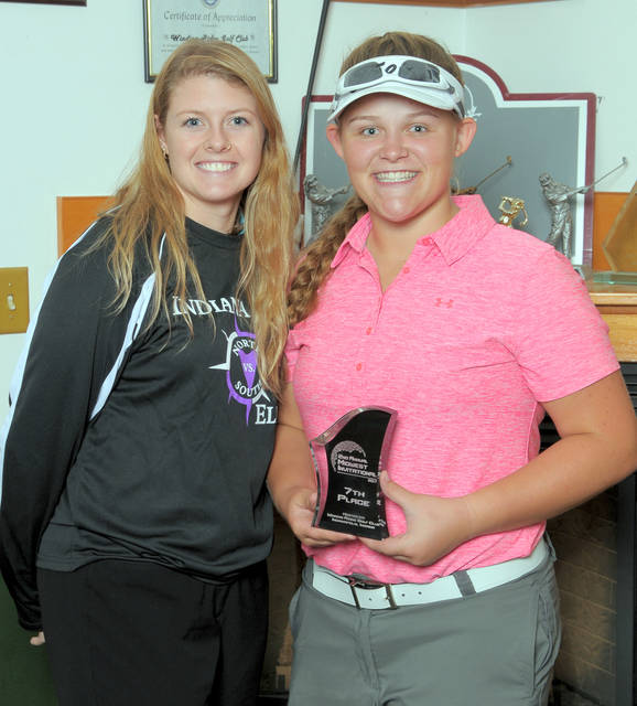 Clinton-Massie sophomore Gabby Woods was seventh in the Girls Midwest Invitational golf tournament in Indianapolis. She is shown with Jenny Hines, a member of the Indiana Elite staff.