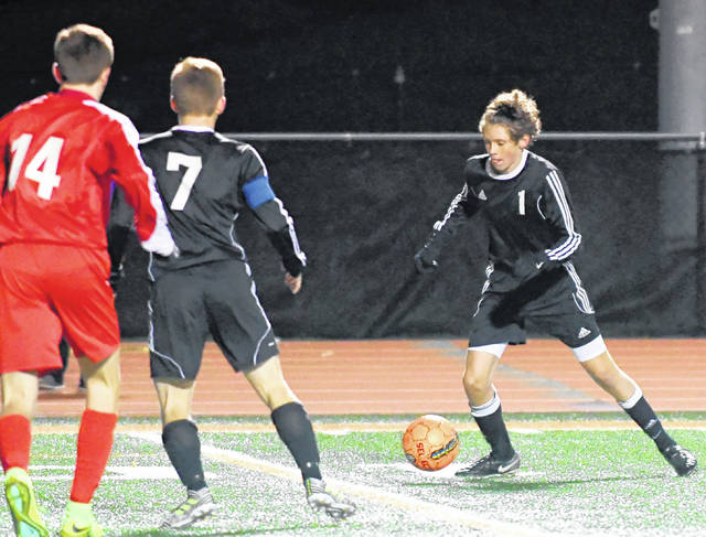 Brady Vilvens (1) scored the lone Hurricane goal Saturday night in a 2-1 loss to Tippecanoe in the Division II Southwest District championship match at Waynesville High School.