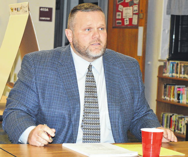 East Clinton Local Schools Superintendent Eric Magee talks about a plan to reduce traffic congestion and therefore increase safety during dismissal time at Sabina Elementary School.