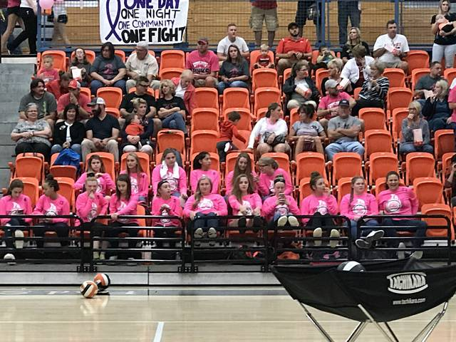 Wilmington High School held its Dig for the Cure night to fight cancer. There was free admission for the match between Wilmington and East Clinton. Donations were accepted and all proceeds from the event went toward the fight against cancer. Wilmington's Rodger O. Borror Middle School volleyball team were a unified pink squad in the first couple of rows Monday night at Fred Summers Court.