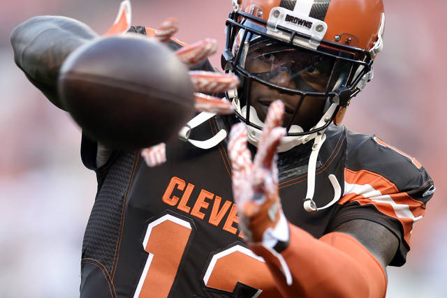 FILE - In this Sept. 1, 2016, file photo, Cleveland Browns wide receiver Josh Gordon catches a pass before an NFL preseason football game against the Chicago Bears in Cleveland. Suspended Browns wide receiver has been granted a conditional re-instatement by NFL Commissioner Roger Goodell following a meeting in New York on Wednesday, Nov. 1, 2017. Gordon has been suspended since 2016 for multiple violations of the league's substance-abuse policy.  (AP Photo/David Richard, File)