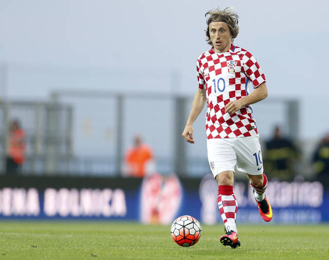 FILE - This is a Saturday, June 4, 2016  file photo of Croatia's Luka Modric as he controls the ball during the international friendly soccer match between Croatia and San Marino, in Rijeka, Croatia. Modric Croatia's top player will be well-rested and fully focused when Croatia attempts to secure a World Cup spot in the playoffs against Greece beginning on Thursday Nov. 9, 2017. (AP Photo/Darko Bandic/File)