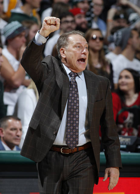 Michigan State coach Tom Izzo signals during the second half of an NCAA college basketball game against Stony Brook, Sunday, Nov. 19, 2017, in East Lansing, Mich. (AP Photo/Al Goldis)