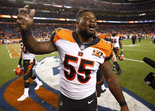 Cincinnati Bengals outside linebacker Vontaze Burfict (55) leave the field after an NFL football game against the Denver Broncos, Sunday, Nov. 19, 2017, in Denver. The Bengals won 20-17. (AP Photo/David Zalubowski)