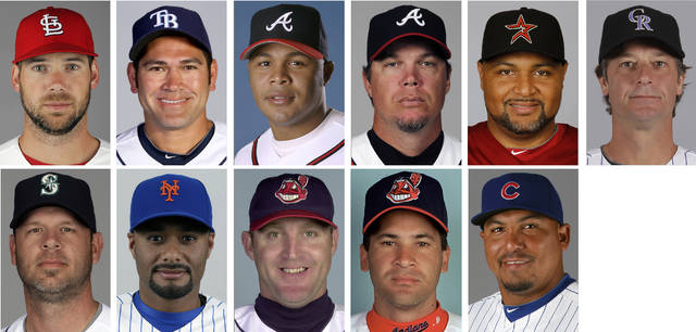 FILE - Top row from left are file photos showing St. Louis Cardinals' Chris Carpenter in 2012; Tampa Bay Rays' Johnny Damon in 2011; Atlanta Braves' Andruw Jones in 2007; Atlanta Braves' Chipper Jones in 2012, Houston Astros' Carlos Lee in 2012 and Colorado Rockies' Jamie Moyer in 2012. Bottom row from left are file photos showing Seattle Mariners' Kevin Millwood in 2012; New York Mets' Johan Santana in 2013; Cleveland Indians' Jim Thome in 2002; Cleveland Indians' Omar Vizquel in 2000 and Chicago Cubs' Carlos Zambrano in 2011. Chipper Jones, Jim Thome and Omar Vizquel are among 19 first-time candidates on the Baseball Writers' Association of America ballot for baseball's Hall of Fame, joined by Johan Santana and Chris Carpenter. Jamie Moyer, Andruw Jones, Carlos Lee, Kevin Millwood, Carlos Zambrano and Johnny Damon also are among the newcomers to the 33-man ballot announced Monday, Nov. 20, 2017. (AP Photo/File)