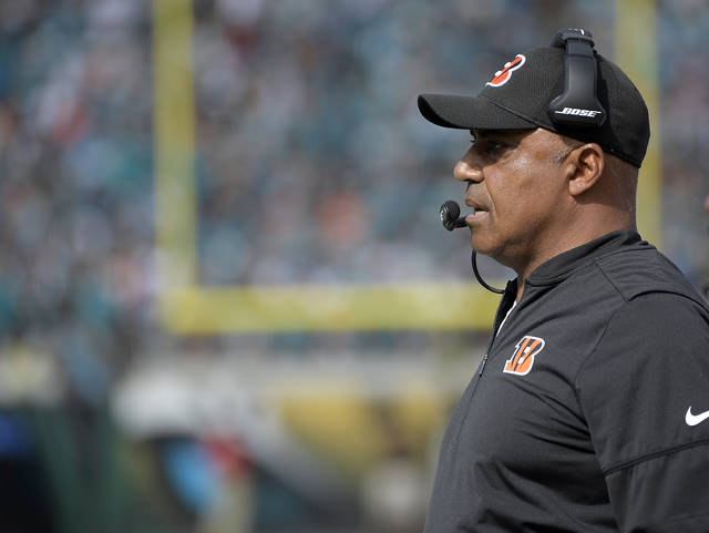 FILE - In this Nov. 5, 2017, file photo, Cincinnati Bengals coach Marvin Lewis watches his team play the Jacksonville Jaguars during the first half of an NFL football game in Jacksonville, Fla. The Bengals face the Cleveland Browns this week. Lewis is playing out his contract and might be gone after 15 seasons if Cincinnati doesn't make a strong finish. (AP Photo/Phelan M. Ebenhack, File)
