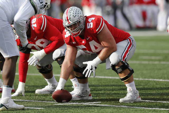 This Nov. 11, 2017, photo shows Ohio State offensive lineman Billy Price playing against Michigan State during an NCAA college football game in Columbus, Ohio. No. 8 Ohio State's improved offensive line will have a big challenge slowing down No. 3 Wisconsin's powerful defensive front. The Buckeyes' line has stabilized after an inconsistent season in 2016. They'll face a Badgers front that anchors the best defense in the nation. Wisconsin is limiting opponents to an average of just 236.9 yards per game. (AP Photo/Jay LaPrete)