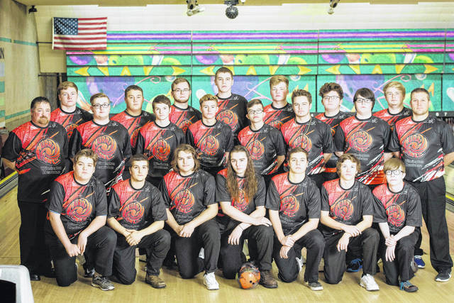 The Wilmington High School boys bowling team, from left to right, front riw, Joe Niederbaumer, Troy Moredock, Jake Frazier, Seth Hensley, Zack Davis, Blake Frazier, Davin Pope; middle row, head coach Josh Fisher, Hunter Miller, Zack Constant, Brayden Rhoads, Cam Blakeman, Logan Frazier, Pat Martin, assistant coach Joe Gigandet; back row, Conner Mitchell, Zack Zeckser, Heath Fetter, Tristan Reiley, Grant Pickard, Noah Sweetman, Luke Hutton.