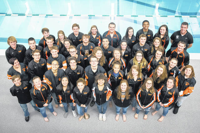 The Wilmington High School boys and girls swim team at the Wilmingtno College Natatorium.