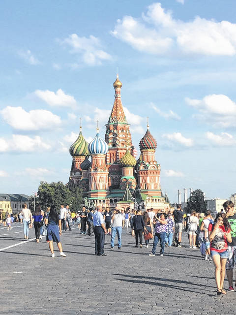 Saint Basil's Cathedral sits on Red Square next to the walls of the Kremlin fortress.