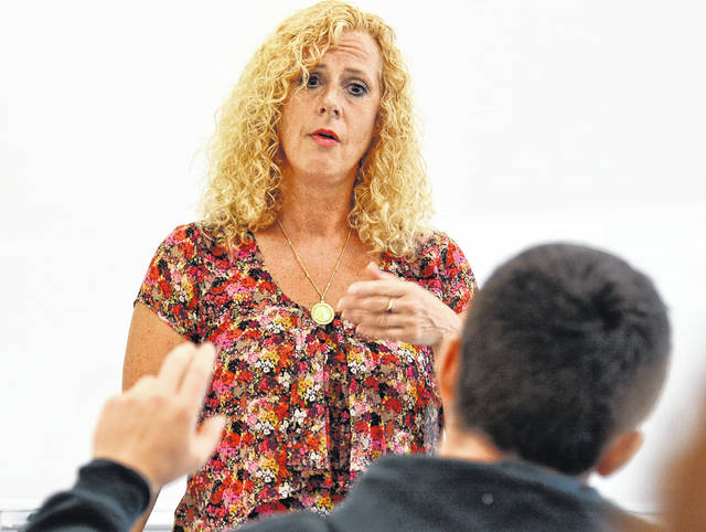 Political science professor Marlaina Leppert-Wahl is pictured teaching this fall.