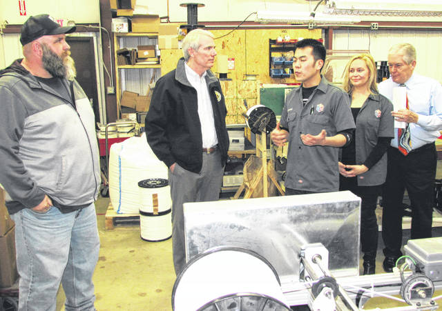 U.S. Sen. Rob Portman, center, is shown in Hillsboro during a 2016 tour of the Turning Point Applied Learning Center. He said Monday that passage of the tax bill was necessary to create jobs and increase wages.