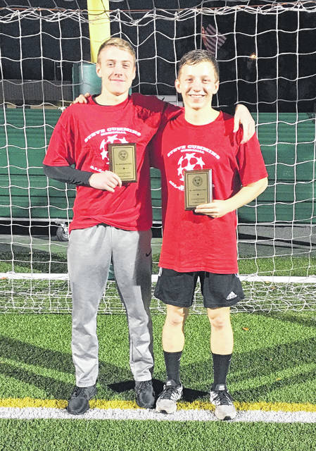 Wilmington High School seniors Seth Gundlach (left) and Sam Spirk (right) were members of the winning red team Sunday in the annual Southwest Ohio Soccer Coaches Association all-star game at Sycamore High School. The red team won the match 3-1. Spirk scored goal in the first half.