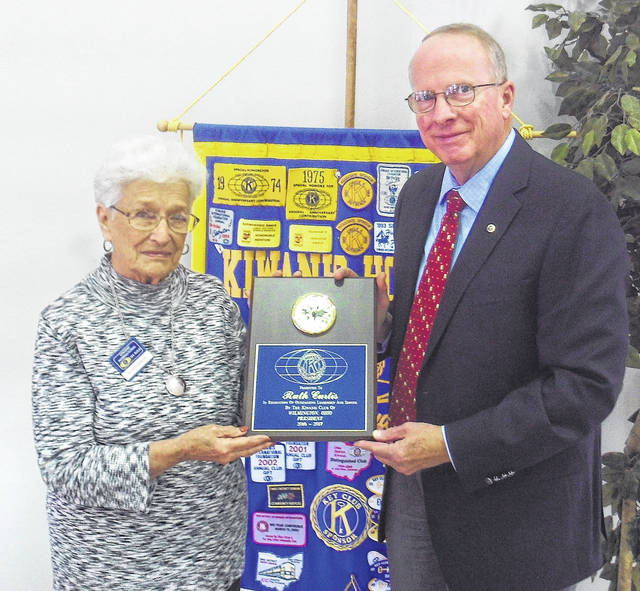 Kiwanis Division 4 Lt. Governor Steven B. Vrooman of Springfield congratulate and present a Presidential Gift to Past Club President Ruth Curtis for her outstanding year during the 2016-2017 Kiwanis Year.